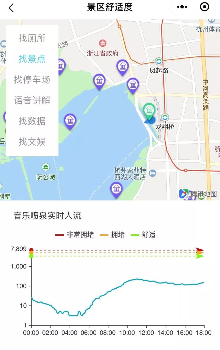 """在""""杭州数字旅游""""小程序内点击找景点,点击地图上景区内的任意"""